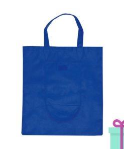 Opvouwbare shopper in tasje blauw bedrukken