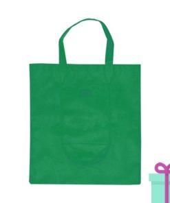 Opvouwbare shopper in tasje groen bedrukken