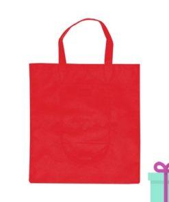 Opvouwbare shopper in tasje rood bedrukken