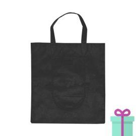 Opvouwbare shopper in tasje zwart bedrukken