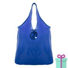 Opvouwbare shopper karabijnhaak blauw bedrukken