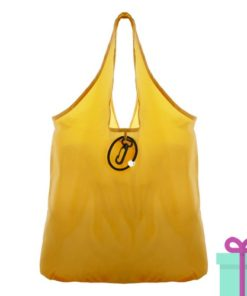 Opvouwbare shopper karabijnhaak geel bedrukken