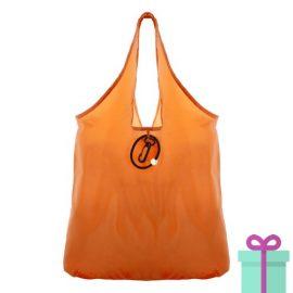 Opvouwbare shopper karabijnhaak oranje bedrukken