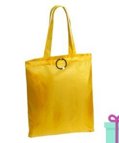 Opvouwbare shopper met bies geel bedrukken