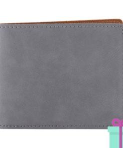 PU Lederen portemonnee voor pasjes grijs bedrukken
