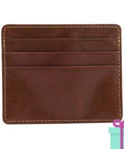 PU creditcard portemonnee bruin bedrukken