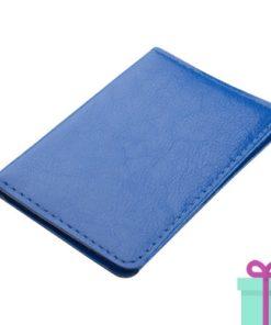 PU kaartenhouder 12 blauw bedrukken