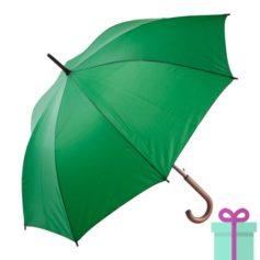 Paraplu met houten haak budget groen bedrukken