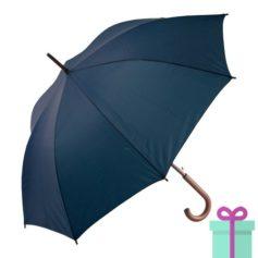 Paraplu met houten haak budget navy bedrukken