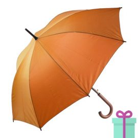 Paraplu met houten haak budget oranje bedrukken