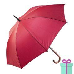 Paraplu met houten haak budget rood bedrukken
