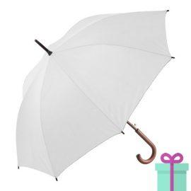 Paraplu met houten haak budget wit bedrukken