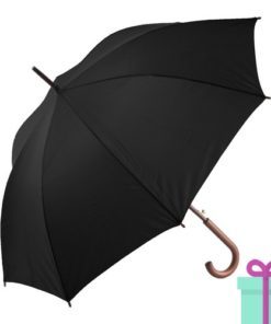 Paraplu met houten haak budget zwart bedrukken
