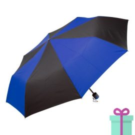 Paraplu opvouwbaar zwart met blauw bedrukken