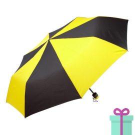 Paraplu opvouwbaar zwart met geel bedrukken