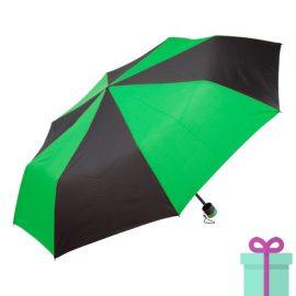Paraplu opvouwbaar zwart met groen bedrukken