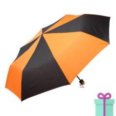 Paraplu opvouwbaar zwart met oranje bedrukken