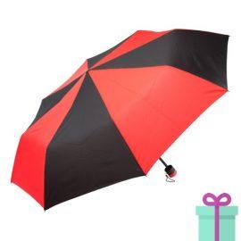 Paraplu opvouwbaar zwart met rood bedrukken