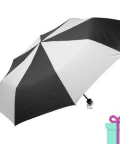 Paraplu opvouwbaar zwart met wit bedrukken