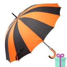 Paraplu zwart oranje bedrukken