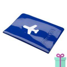 Paspoorthoes PVC blauw bedrukken