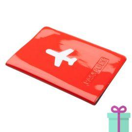 Paspoorthoes PVC rood bedrukken