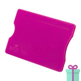 Plastic kaarthouder roze bedrukken