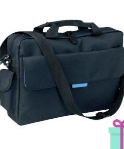 Polyester laptop tas zwart blauw bedrukken