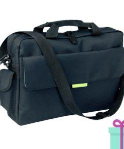 Polyester laptop tas zwart groen bedrukken