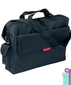 Polyester laptop tas zwart rood bedrukken