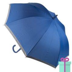 Pongee paraplu bedrukt met logo blauw bedrukken