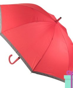 Pongee paraplu bedrukt met logo rood bedrukken