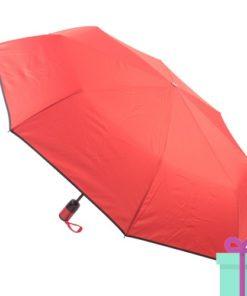 Pongee windproof opvouwbare paraplu rood bedrukken