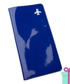 Reisdocument houder vliegtickets blauw bedrukken