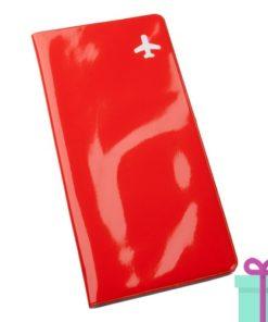 Reisdocument houder vliegtickets rood bedrukken
