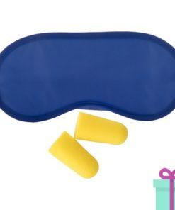 Reisset oogmasker oordoppen blauw bedrukken