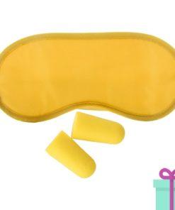 Reisset oogmasker oordoppen geel bedrukken