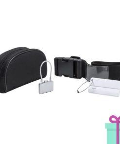 Reisset voor koffer zwart bedrukken