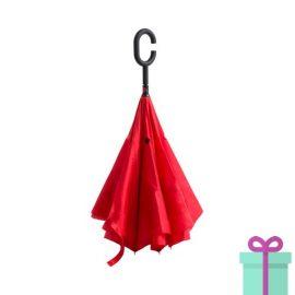 Reversible paraplu rood bedrukken