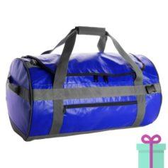 Ronde sporttas duffelbag blauw bedrukken