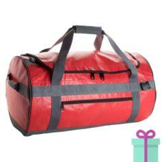 Ronde sporttas duffelbag rood bedrukken