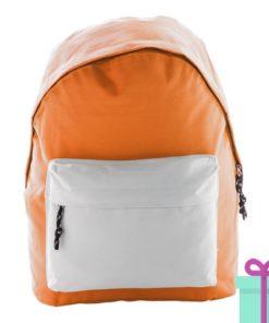 Rugtas basic budget oranje wit bedrukken