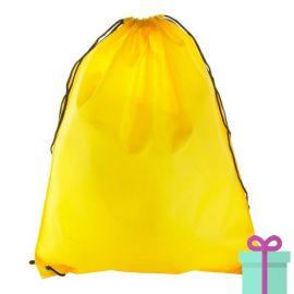 Rugzak trekkoord goedkoop geel bedrukken