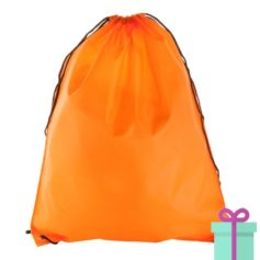 Rugzak trekkoord goedkoop oranje bedrukken