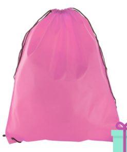 Rugzak trekkoord goedkoop roze bedrukken