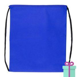 Rugzakje goedkoop non-woven trektouw blauw bedrukken