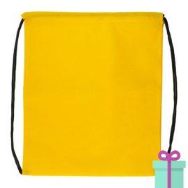 Rugzakje goedkoop non-woven trektouw geel bedrukken