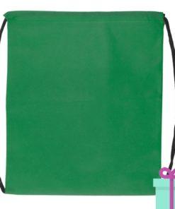 Rugzakje goedkoop non-woven trektouw groen bedrukken