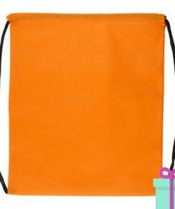 Rugzakje goedkoop non-woven trektouw oranje bedrukken