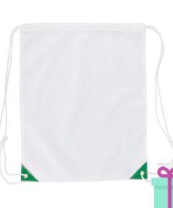 Rugzakje trektouw wit groen bedrukken
